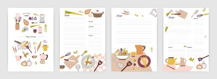 Collection of recipe card or sheet templates for making notes about meal preparation and cooking ingredients. Empty. Cookbook pages decorated with colorful stock illustration