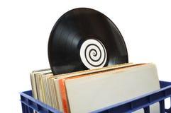 Collection record de LP de vinyle dans la caisse Images libres de droits