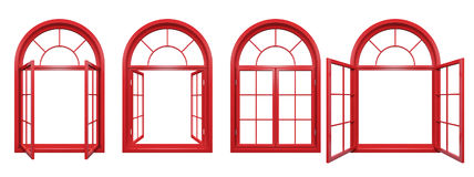 Collection of red arched windows isolated on white Royalty Free Stock Photo
