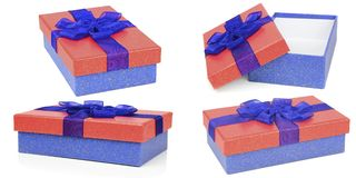 Red and blue gift boxes Royalty Free Stock Photos