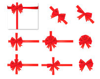 Collection of red bows. Stock Images