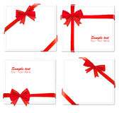 Collection of red bows with ribbons. Royalty Free Stock Photos