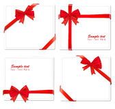 Collection of red bows with ribbons. Stock Photos