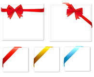 Collection of red bows with ribbons. Royalty Free Stock Photo