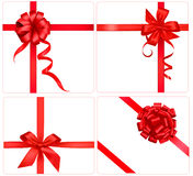Collection of red bows with ribbons. Stock Image