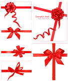 Collection of red bows with ribbons. Royalty Free Stock Images