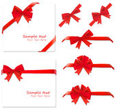 Collection of red bows. Vector. Royalty Free Stock Image