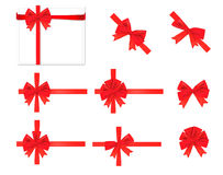 Collection of red bows. Vector. Stock Image