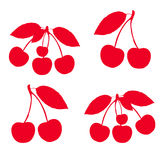 Collection of red cherries on twigs, silhouette on white background. Vector Royalty Free Stock Photos
