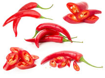 Collection of red chilli peppers isolated on the white backgroun Royalty Free Stock Photo