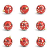 Collection of red christmas balls. White isolated. 3D render Royalty Free Stock Photos