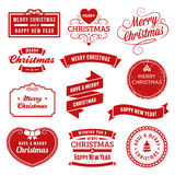 Collection of Red Christmas Labels, Ribbons and Ornaments Royalty Free Stock Images