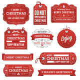 Collection of Red Christmas Labels Stock Image