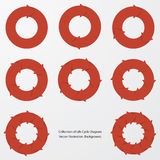 Collection of red color arrow circle flows. Stock Image