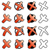 Collection of red crosses Stock Images