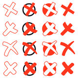 Collection of red crosses vector illustration