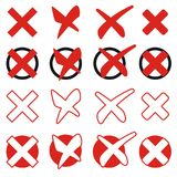 Collection red crosses Royalty Free Stock Photo