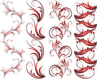 Collection of red dark ornaments for frame Stock Photography