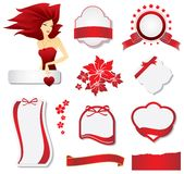 Collection of red design elements vector illustration