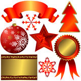 Collection of red elements for christmas design. (vector royalty free illustration