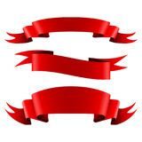 Collection of red empty ribbon banners Stock Photos