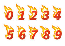 Collection of red flaming numbers. Collection of red burning fiery numbers vector illustration Stock Images