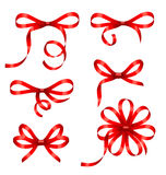 Collection Red Gift Bows Isolated Royalty Free Stock Image