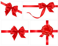 Collection of red gift bows with ribbons Stock Photos
