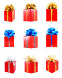 Collection of red gift wrapped presents Stock Images