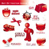 Collection of red glossy icons. Collection of red glossy 3d and 2D icons Stock Images