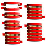 Collection of red with gold tapes Royalty Free Stock Photography