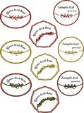 Collection of red and greed decorated stickers, labels Stock Image