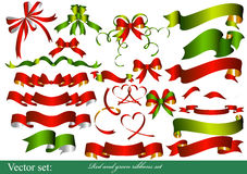 Collection of red and green ribbons for design Stock Photography