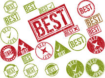 Collection of 22 red grunge rubber stamps with text. BEST . Vector illustration Royalty Free Stock Image