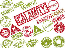 Collection of 22 red grunge rubber stamps with text Royalty Free Stock Photos