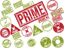 Collection of 22 red grunge rubber stamps with text. PRIME . Vector illustration Stock Photography