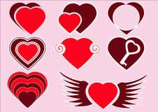The collection of red hearts. The collection of group red hearts Stock Images