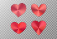 Collection of red hearts. A set of red hearts with a metal texture for a romantic design of congratulations for Valentine`s Day, design cards for Mother`s Day vector illustration