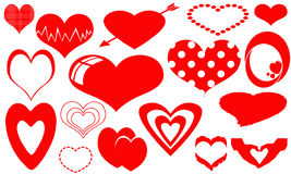 Collection of red hearts Stock Image