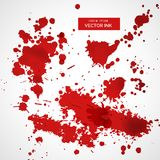 Collection of red ink splatter background. Vector stock illustration