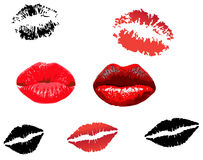 Collection of red lips print Royalty Free Stock Image