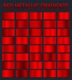 Collection red metallic gradients, chrome christmas gradient set. Vector illustration.  stock illustration