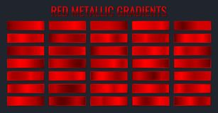 Free Collection Red Metallic Gradients, Chrome Christmas Gradient Set. Vector Illustration Royalty Free Stock Images - 159520679