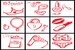 Collection of red objects for a woman princess stock photo