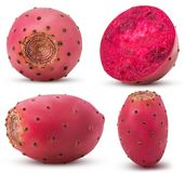 Collection red opuntia, whole, cut in half stock images