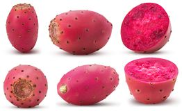 Collection red opuntia, whole, cut in half royalty free stock image