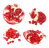 Collection red pomegranate fruits isolated on white background Stock Images