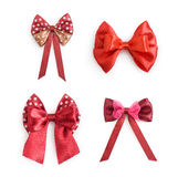 Collection of red ribbon bow. Isolated on the white background Royalty Free Stock Image
