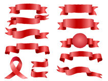 The collection red ribbons banners ΠStock Photos