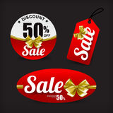 020 Collection red sale with gold ribbon tag banner promotion sa Stock Photos